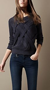 Lattice Knit Check Sweater