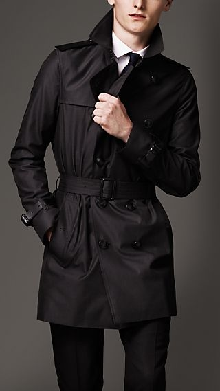 Mid-Length Military Detail Gabardine Trench Coat