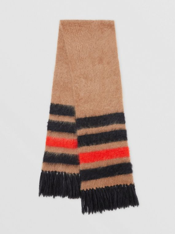 Striped Knitted Mohair Silk Scarf in Warm Camel
