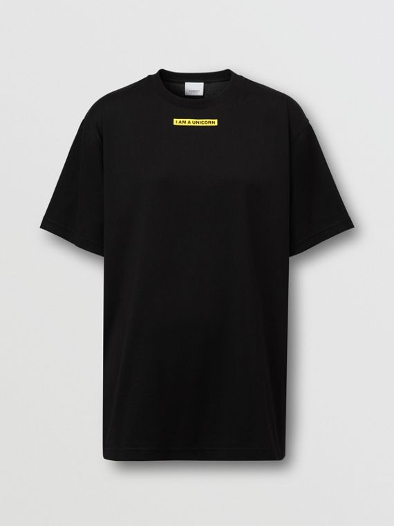 Slogan Print Oversized T-shirt – Online Exclusive in Black