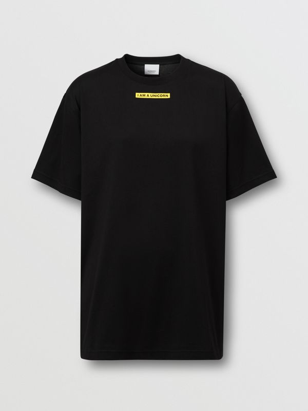 Slogan Print Oversized T-shirt – Online Exclusive in Black - Women | Burberry - cell image 3