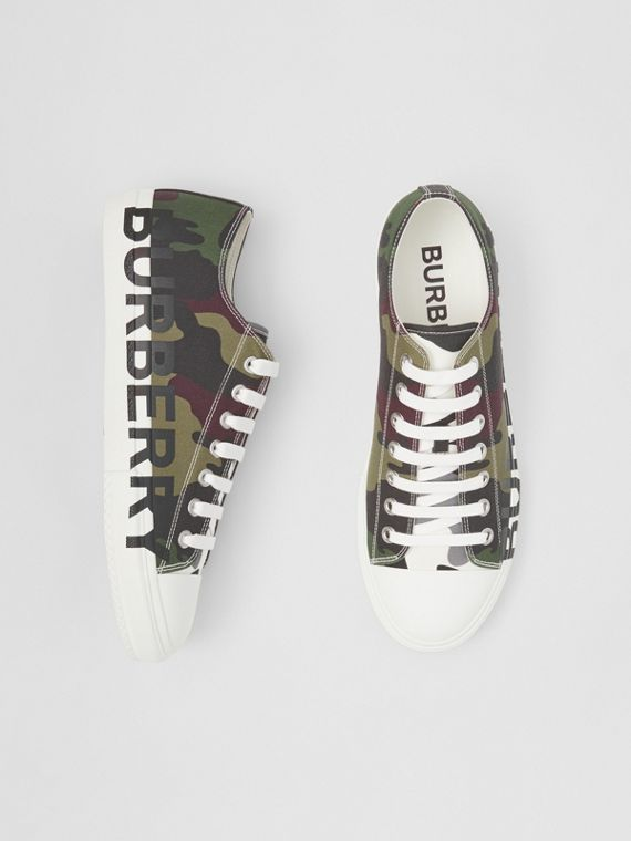 Logo Print Camouflage Cotton Sneakers in Mangrove Green