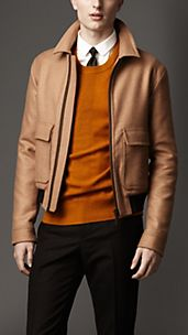Leather Detail Camel Hair Blouson