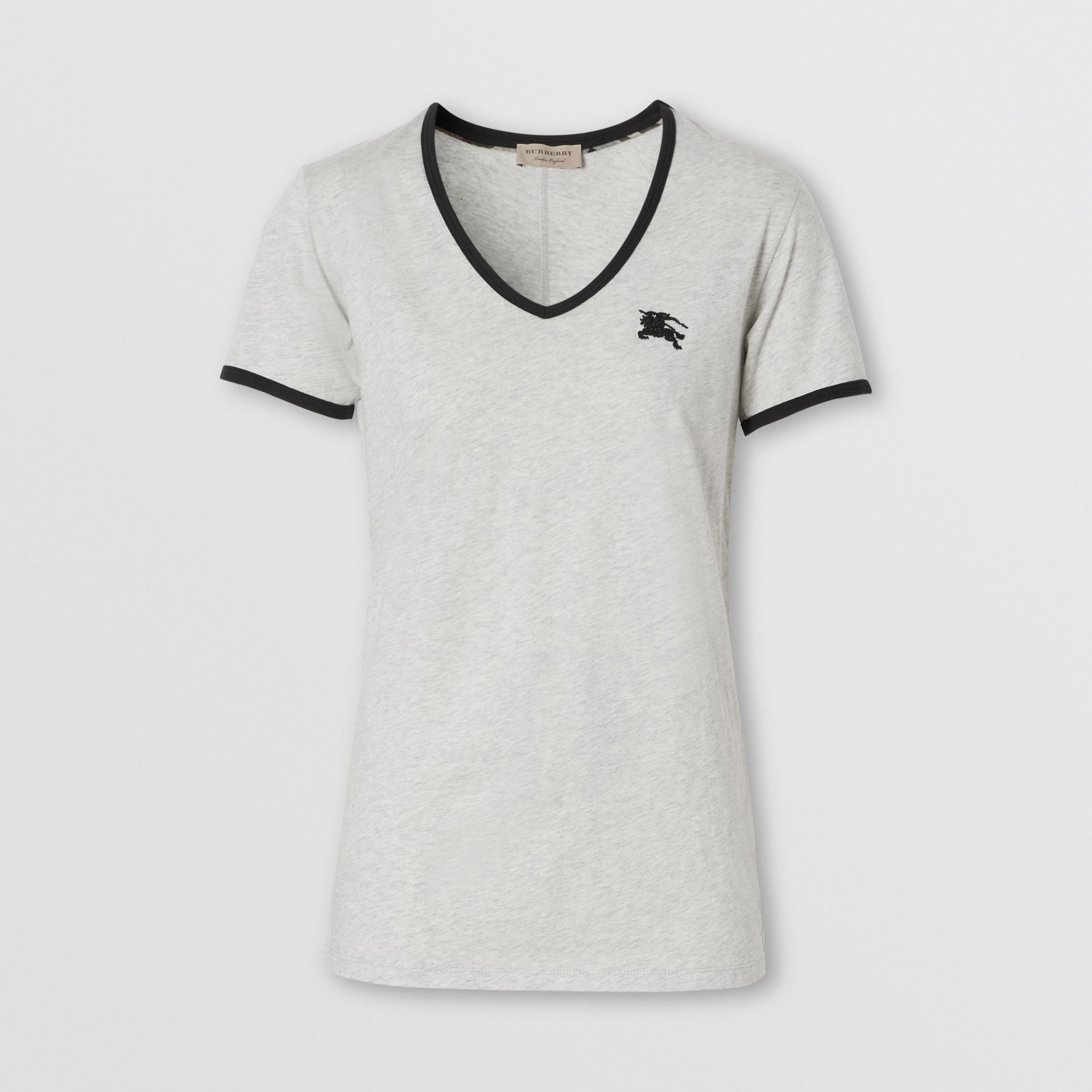 Embroidered EKD Cotton T-shirt in Light Grey Melange - Women | Burberry - gallery image 0