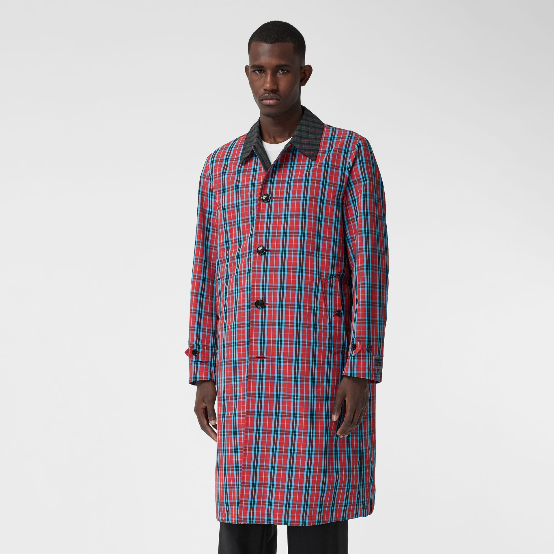 Contrast Collar Check Nylon Twill Car Coat in Red - Men | Burberry - gallery image 6