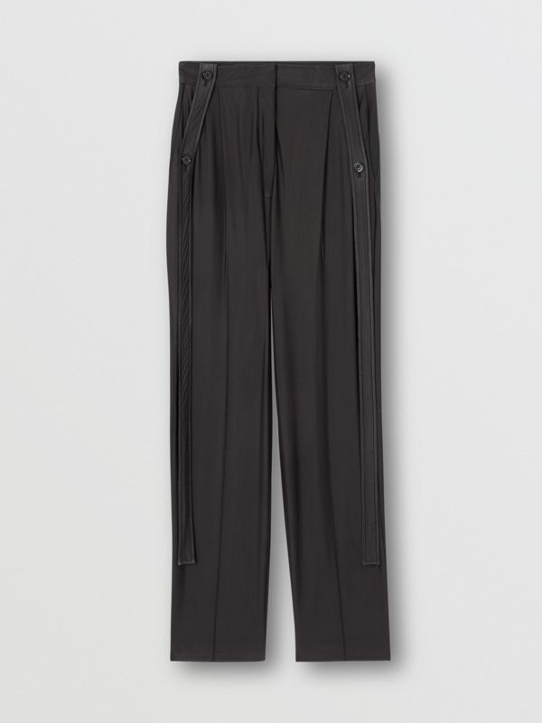 Strap Detail Chiffon and Jersey Tailored Trousers in Black - Women | Burberry - cell image 3