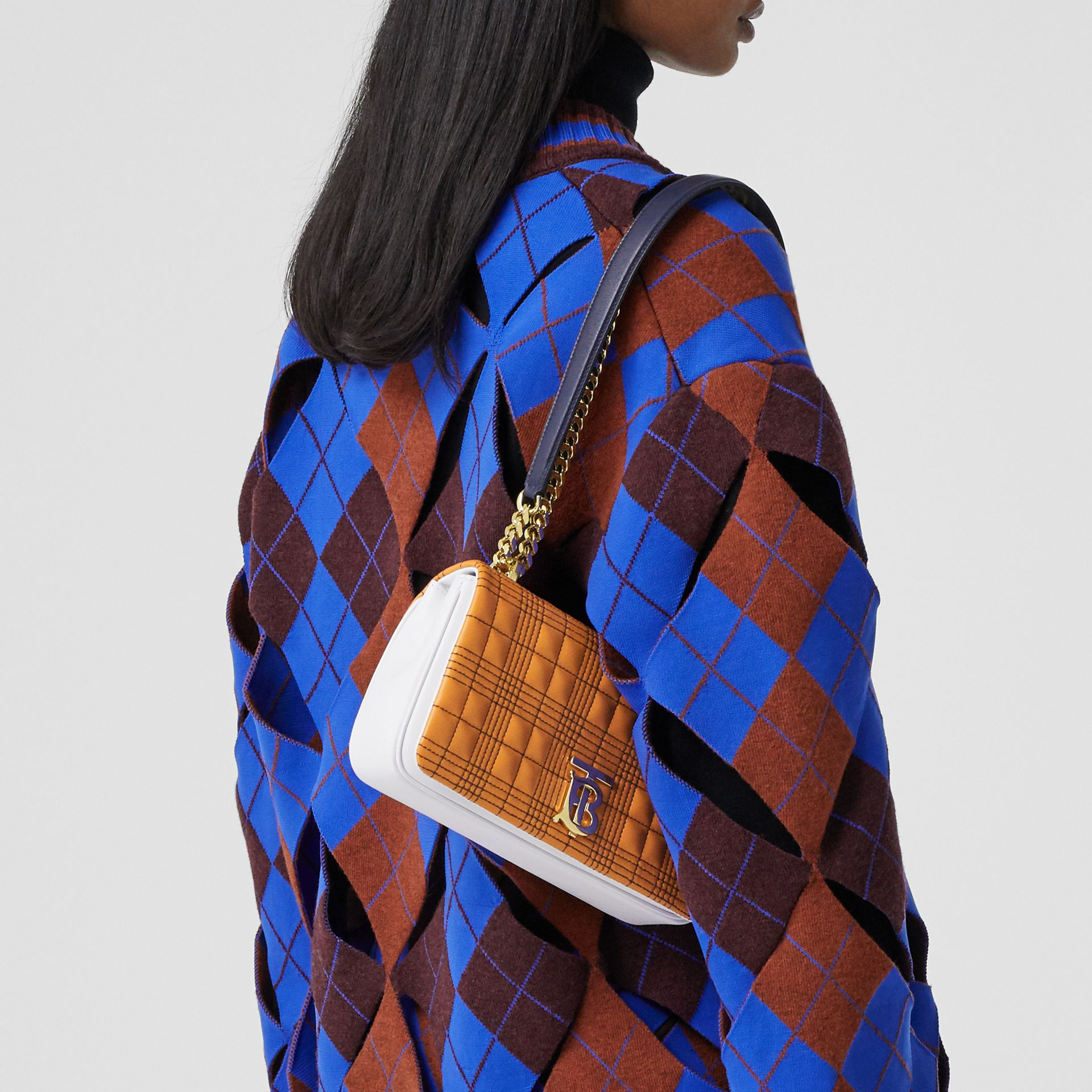 Small Quilted Tri-tone Lambskin Lola Bag in Orange/white - Women | Burberry - gallery image 2