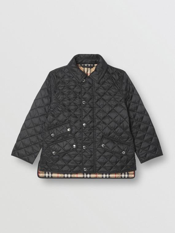 Lightweight Diamond Quilted Jacket in Black