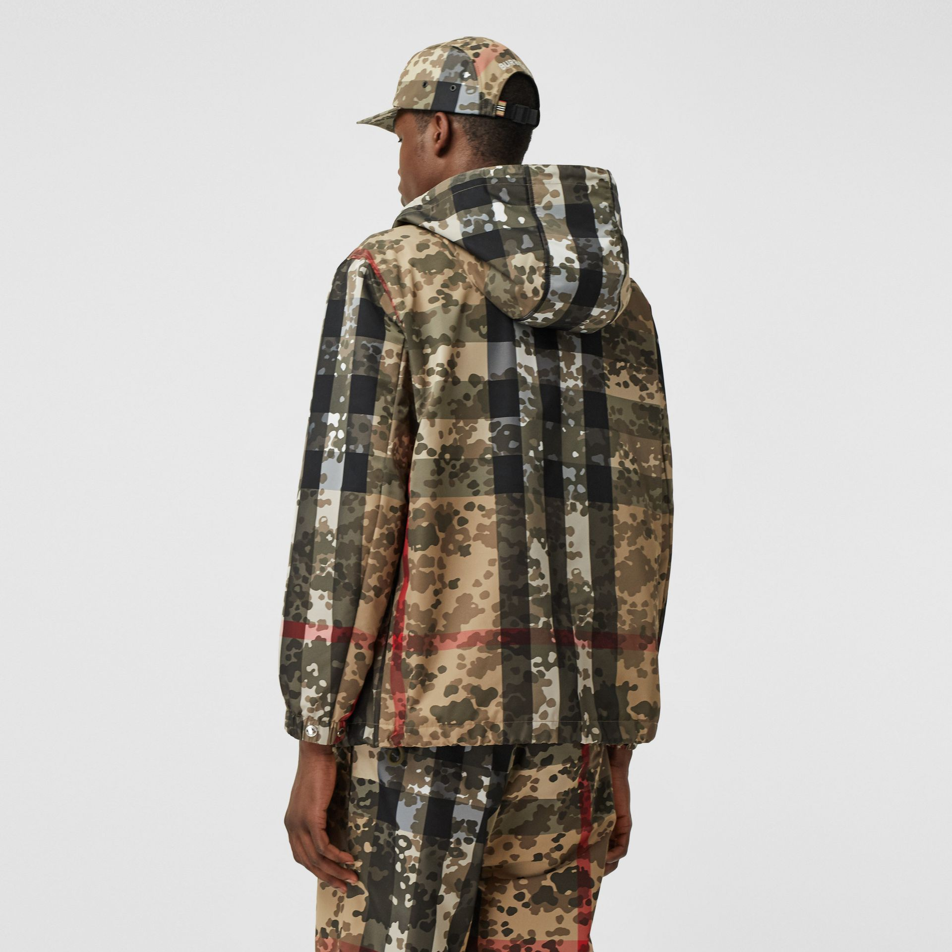 Camouflage Check Nylon Hooded Jacket in Archive Beige | Burberry United Kingdom - gallery image 2