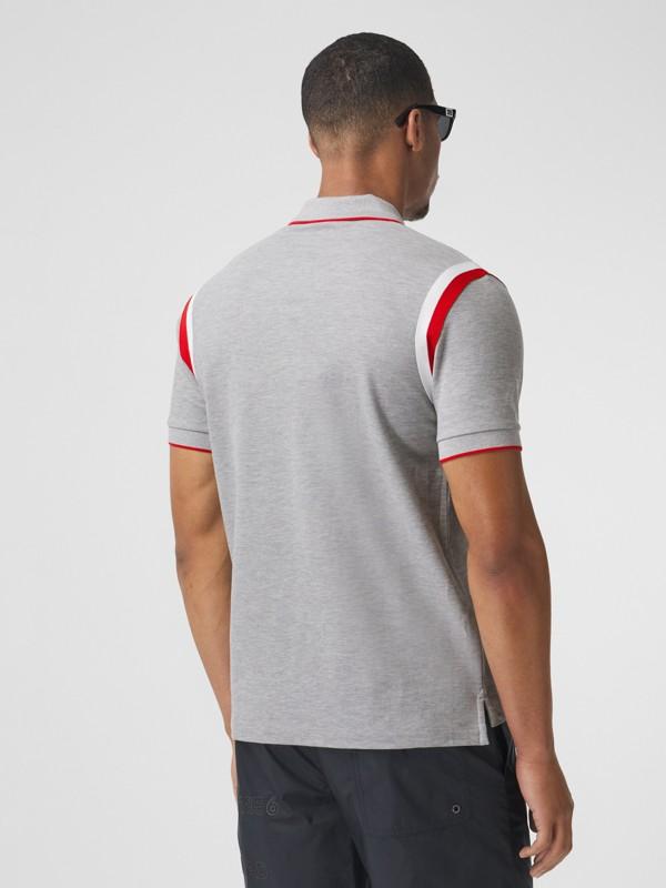 Logo Graphic Appliqué Cotton Piqué Polo Shirt in Pale Grey Melange - Men | Burberry Hong Kong S.A.R. - cell image 2