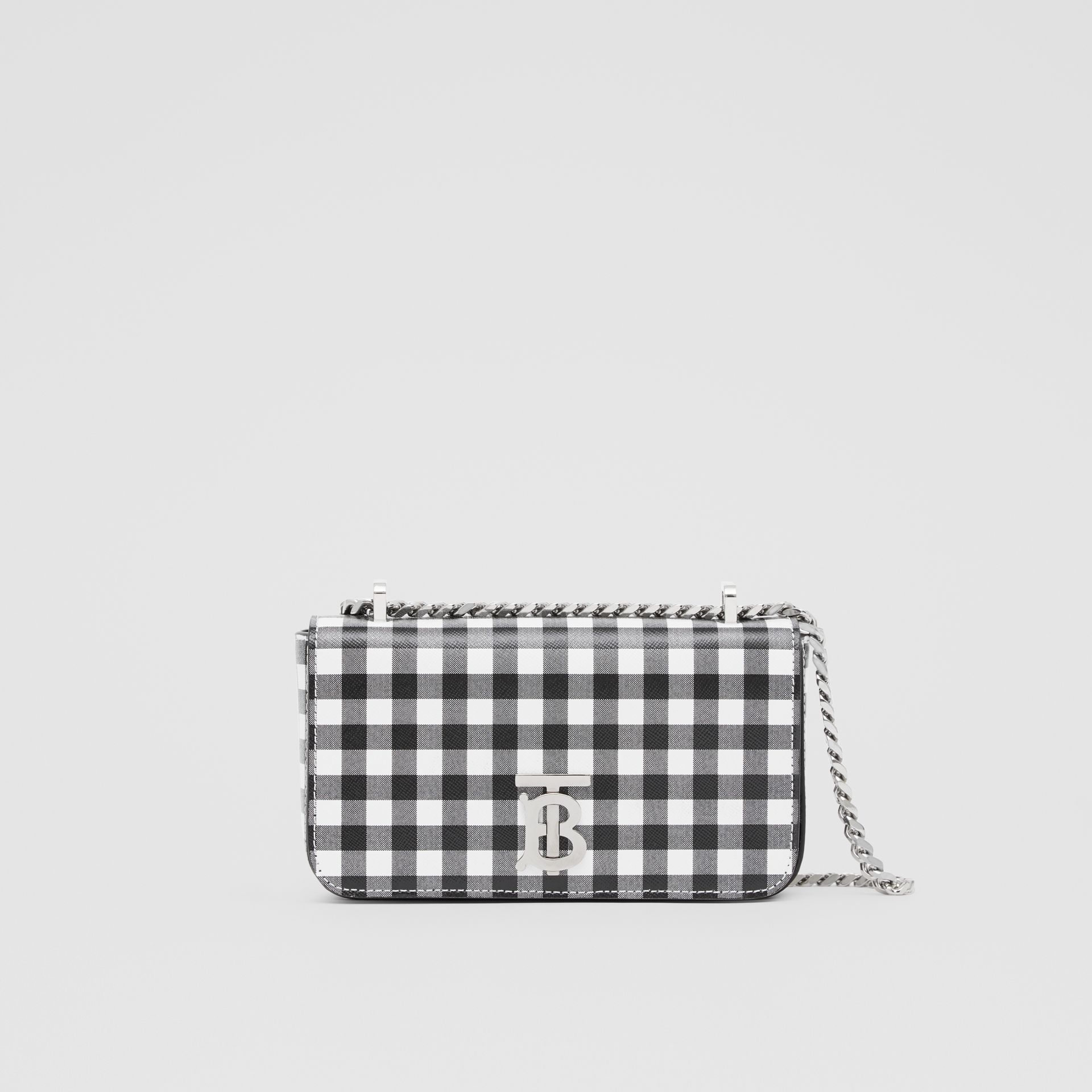Mini Gingham Leather Lola Bag in Black/white - Women | Burberry - gallery image 0