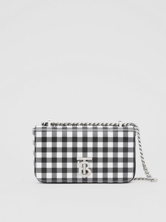 Mini Gingham Leather Lola Bag in Black/white