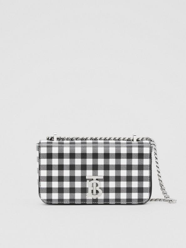 Mini Gingham Leather Lola Bag in Black/white
