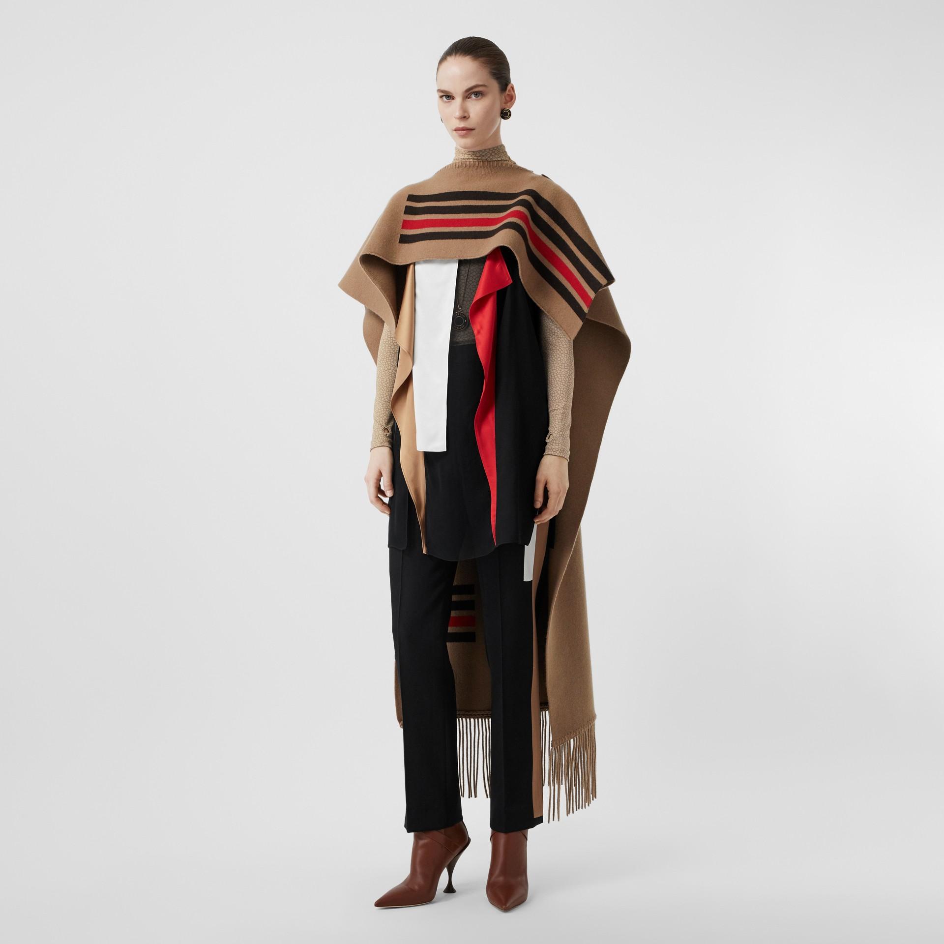 Stripe Detail Wool Tailored Trousers in Black - Women | Burberry United Kingdom - gallery image 0