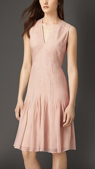Silk Organza Flared Skirt Dress