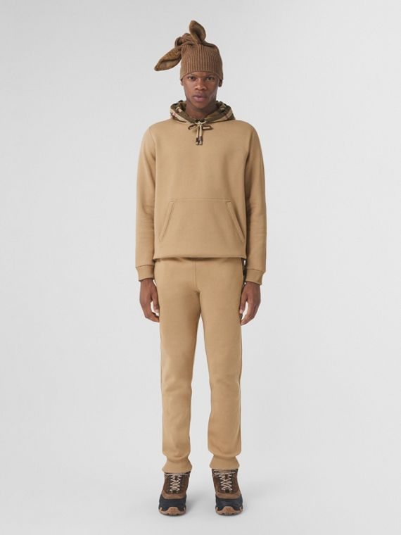 Check Hood Cotton Blend Hoodie in Camel