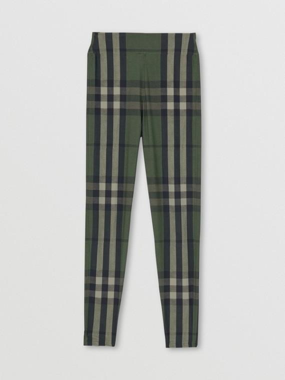 Leggings in jersey stretch con motivo tartan (Verde Militare)