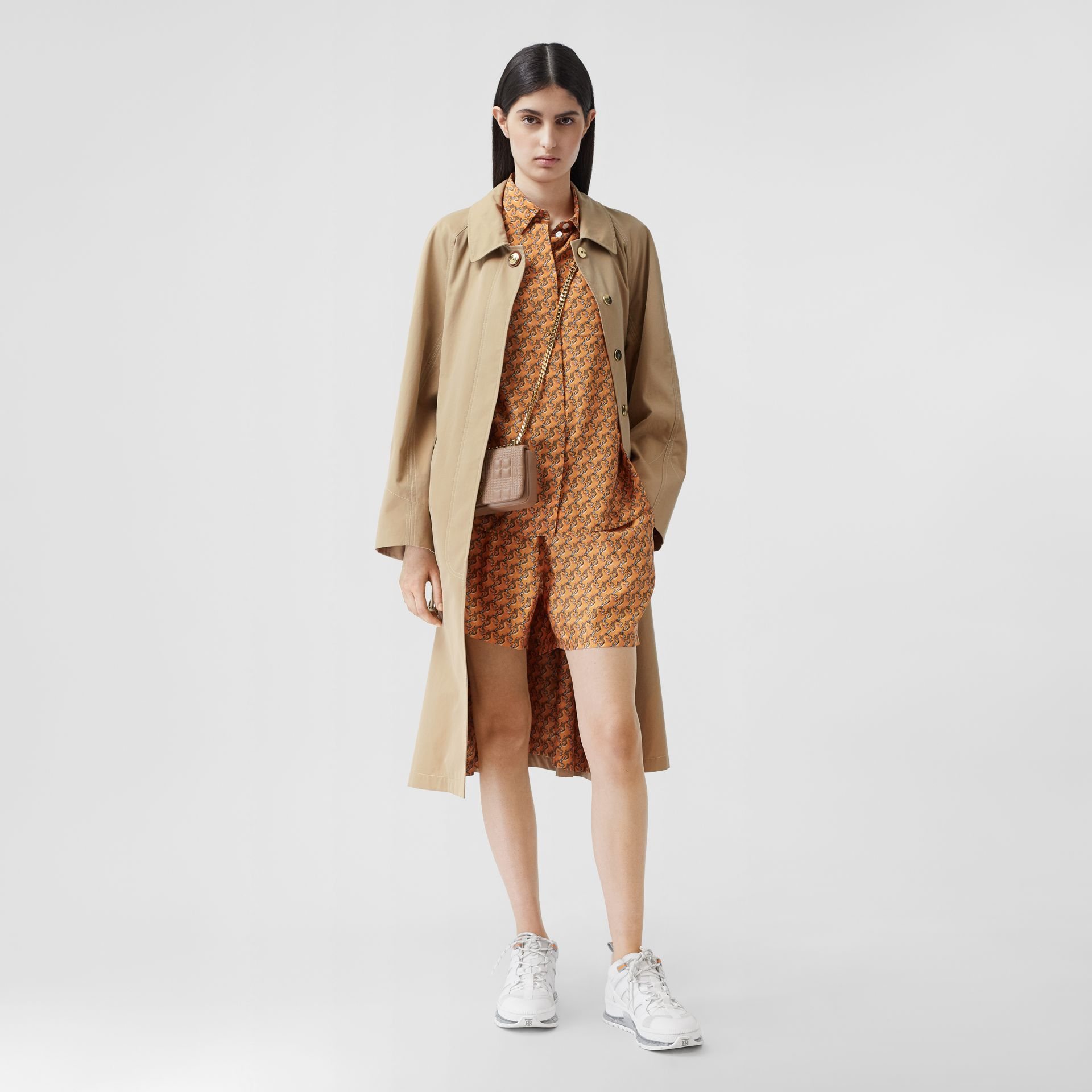 Tropical Gabardine Belted Car Coat in Honey - Women | Burberry - gallery image 6