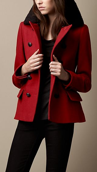 Shearling Collar Pea Coat