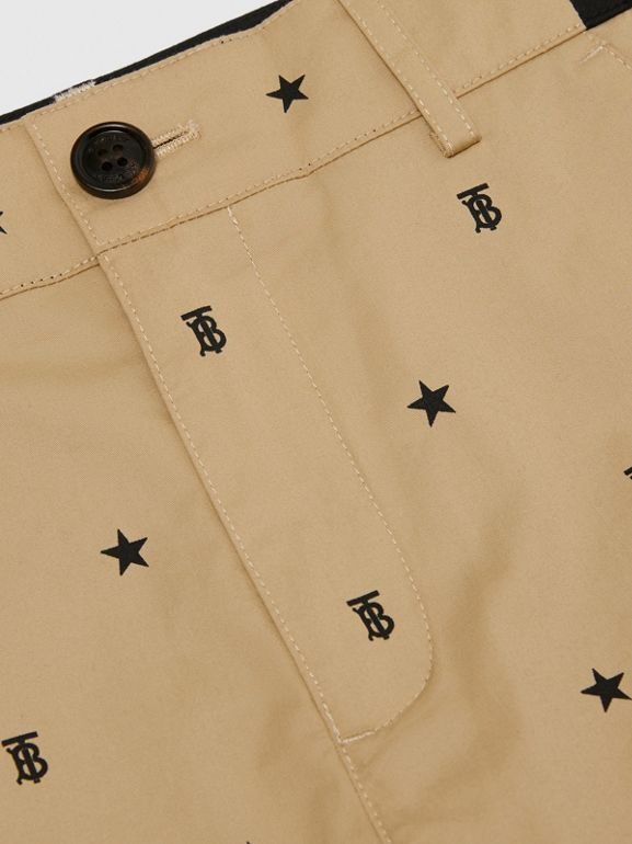 Star and Monogram Motif Tailored Shorts in Sand | Burberry Hong Kong S.A.R. - cell image 1