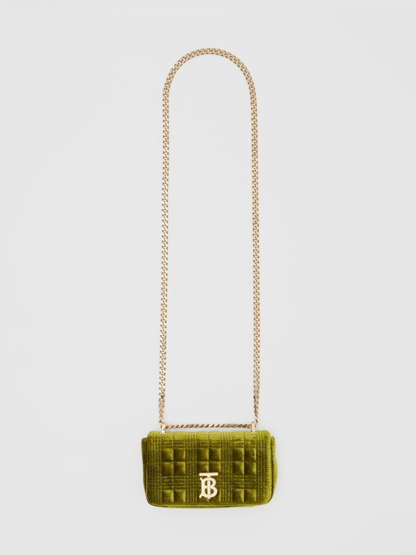Mini Quilted Velvet Lola Bag in Juniper Green - Women | Burberry - cell image 3