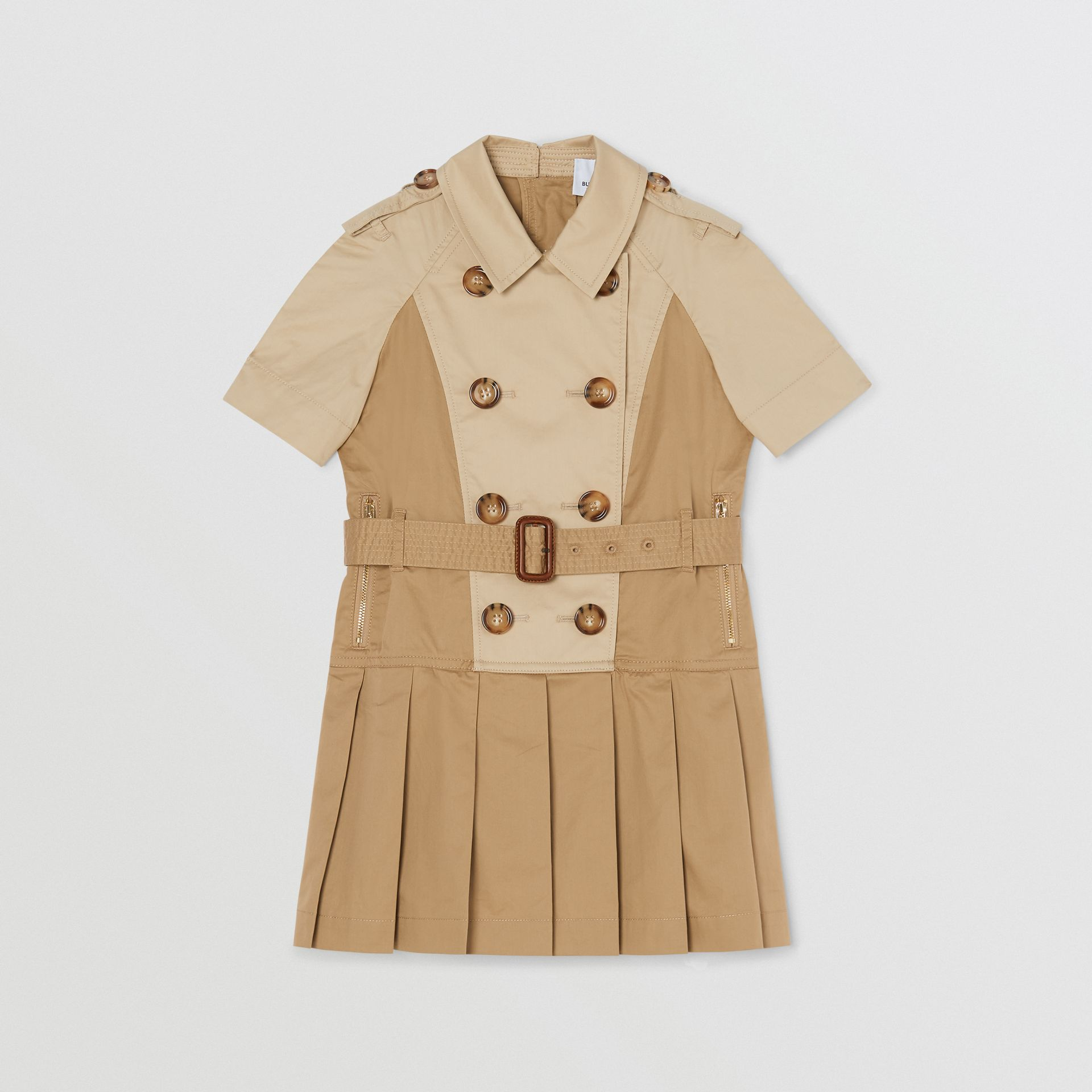 Two-tone Stretch Cotton Belted Trench Dress in Honey | Burberry United Kingdom - gallery image 0