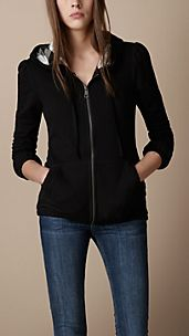 Check-Lined Hooded Top