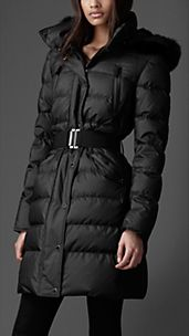 Fur Trim Quilted Coat