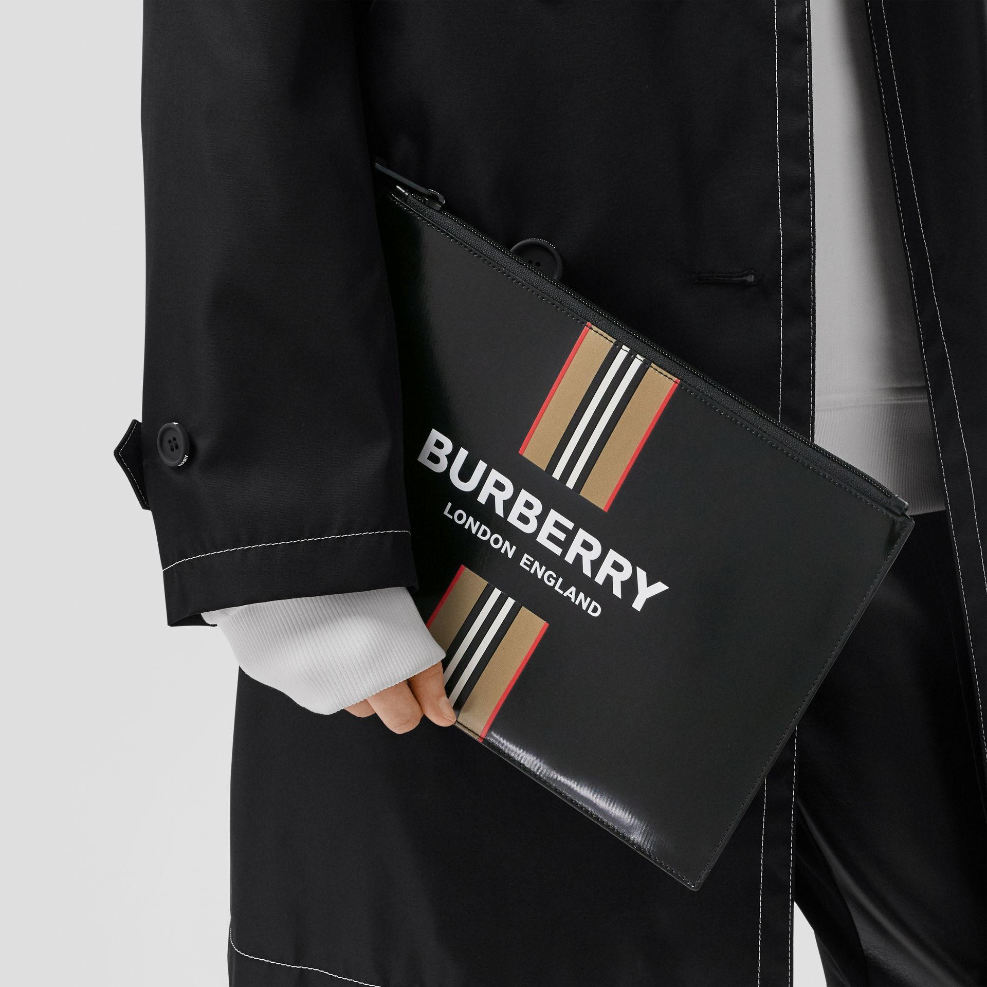 Logo and Icon Stripe Print Coated Canvas Zip Pouch in Black | Burberry United Kingdom - gallery image 2