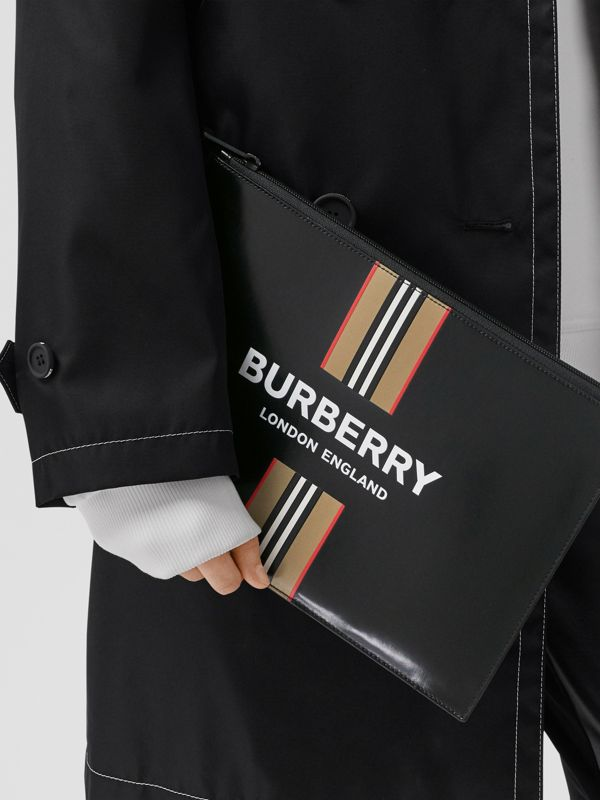 Logo and Icon Stripe Print Coated Canvas Zip Pouch in Black | Burberry United Kingdom - cell image 2