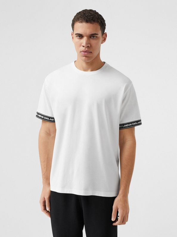 標誌飾帶棉質寬版 T 恤 (白色)