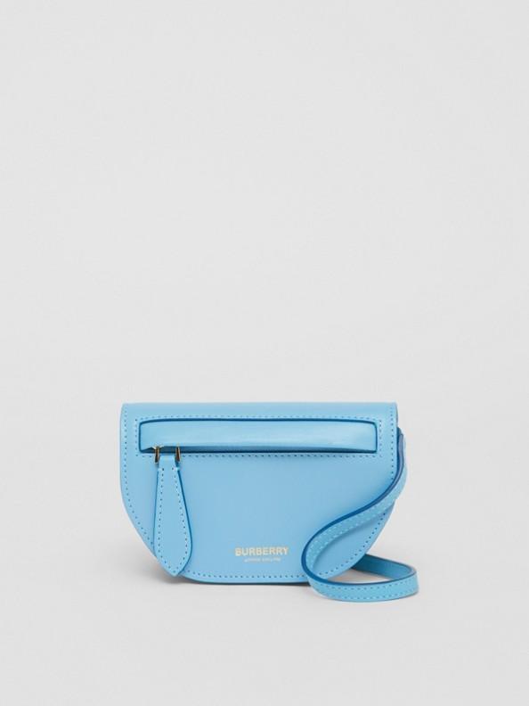 皮革 Olympia 卡片夾附可拆式背帶 (黃玉藍)