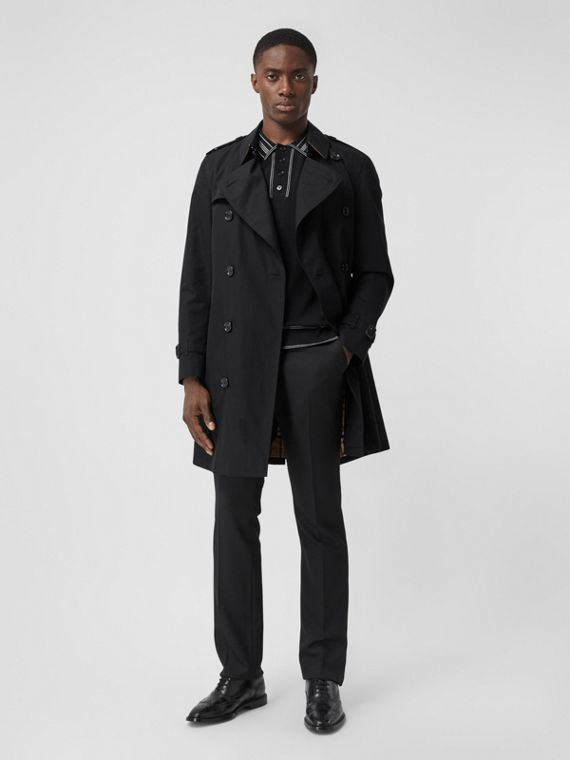 Trench coat Heritage Chelsea de longitud media (Negro)