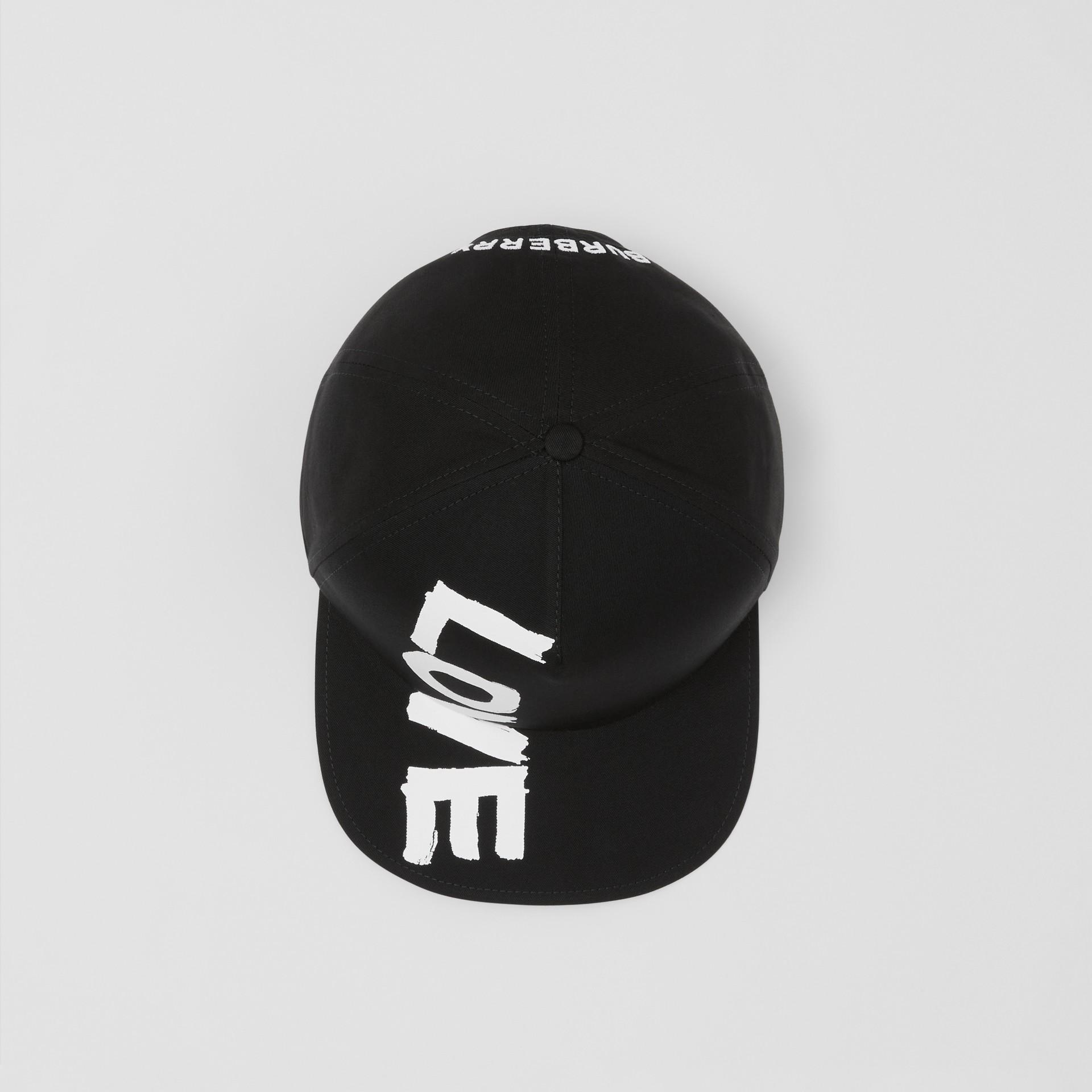 Love Print Cotton Gabardine Baseball Cap in Black | Burberry - gallery image 2