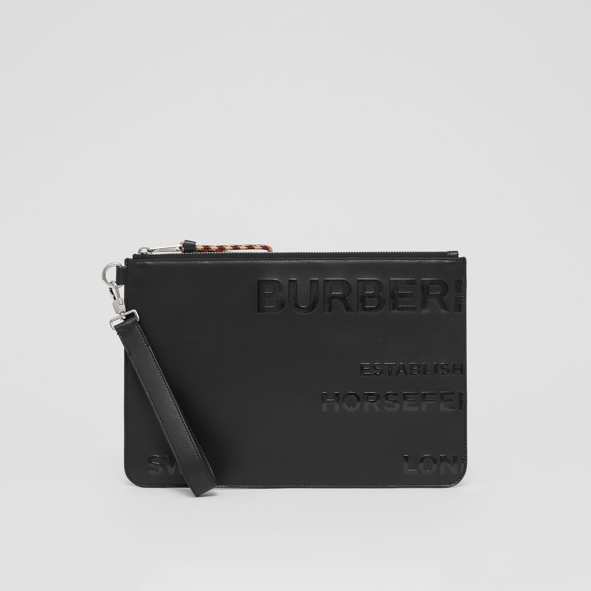 Horseferry Print Leather Zip Pouch in Black | Burberry - gallery image 2