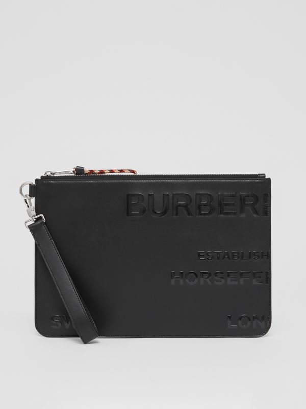 Horseferry Print Leather Zip Pouch in Black | Burberry - cell image 2