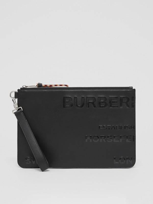 Trousse in pelle con cerniera e stampa Horseferry (Nero) | Burberry - cell image 2