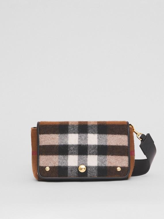 Small Check Cashmere Crossbody Bag in Birch Brown