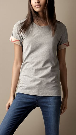 Check Cuff Cotton T-Shirt
