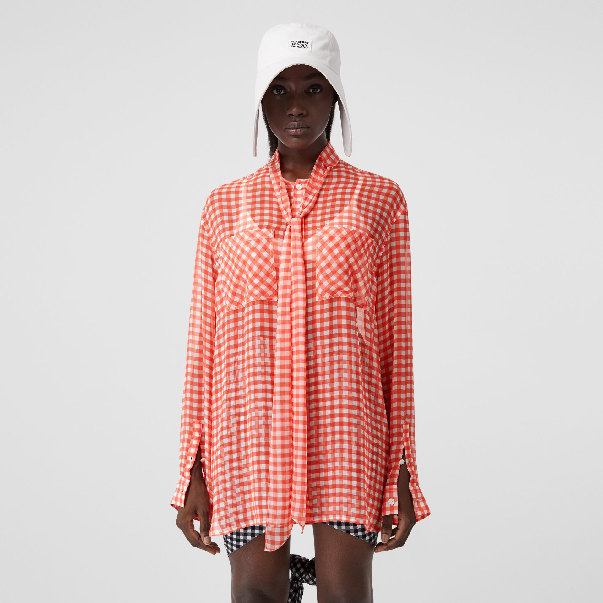 Gingham Silk Chiffon Pussy-bow Blouse in Red - Women | Burberry - gallery image 4