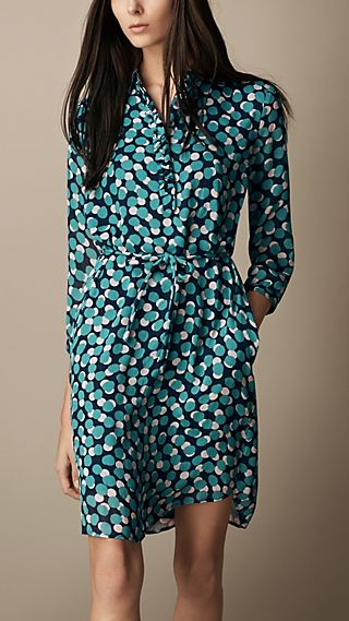Silk Crepon Dot Print Shirt Dress