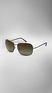 Square-Frame Aviator Sunglasses