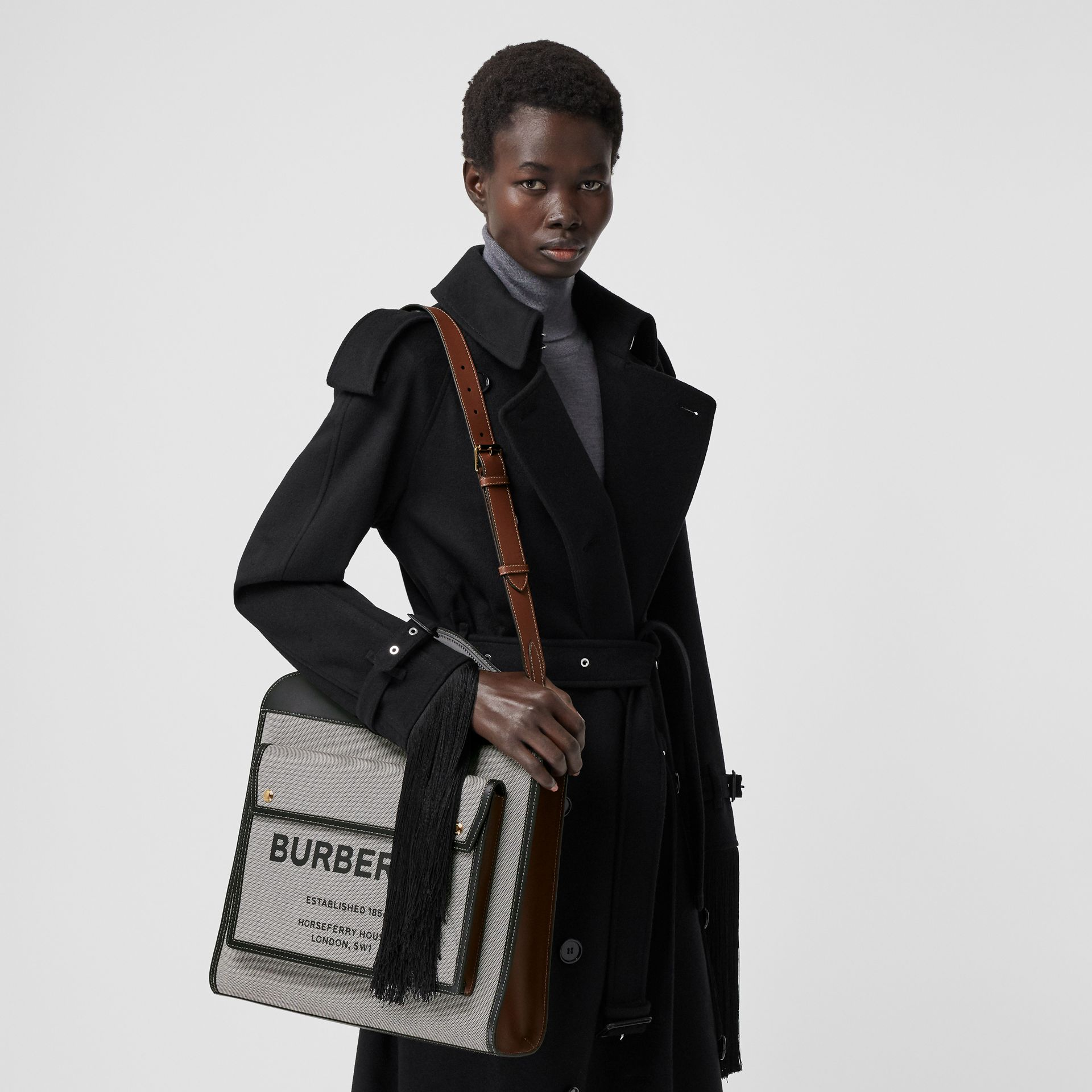 Medium Two-tone Canvas and Leather Pocket Bag in Black/tan - Women | Burberry United States - gallery image 1