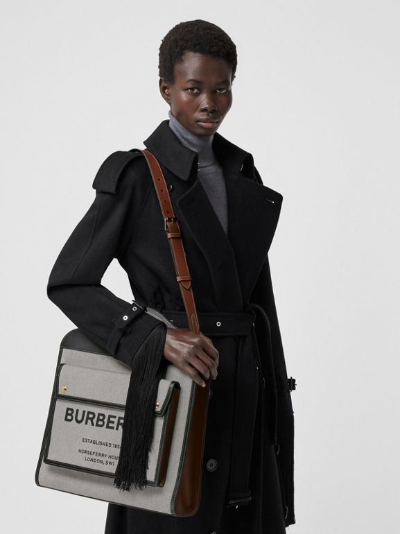 Medium Two-tone Canvas and Leather Pocket Bag in Black/tan - Women | Burberry United Kingdom - cell image 1
