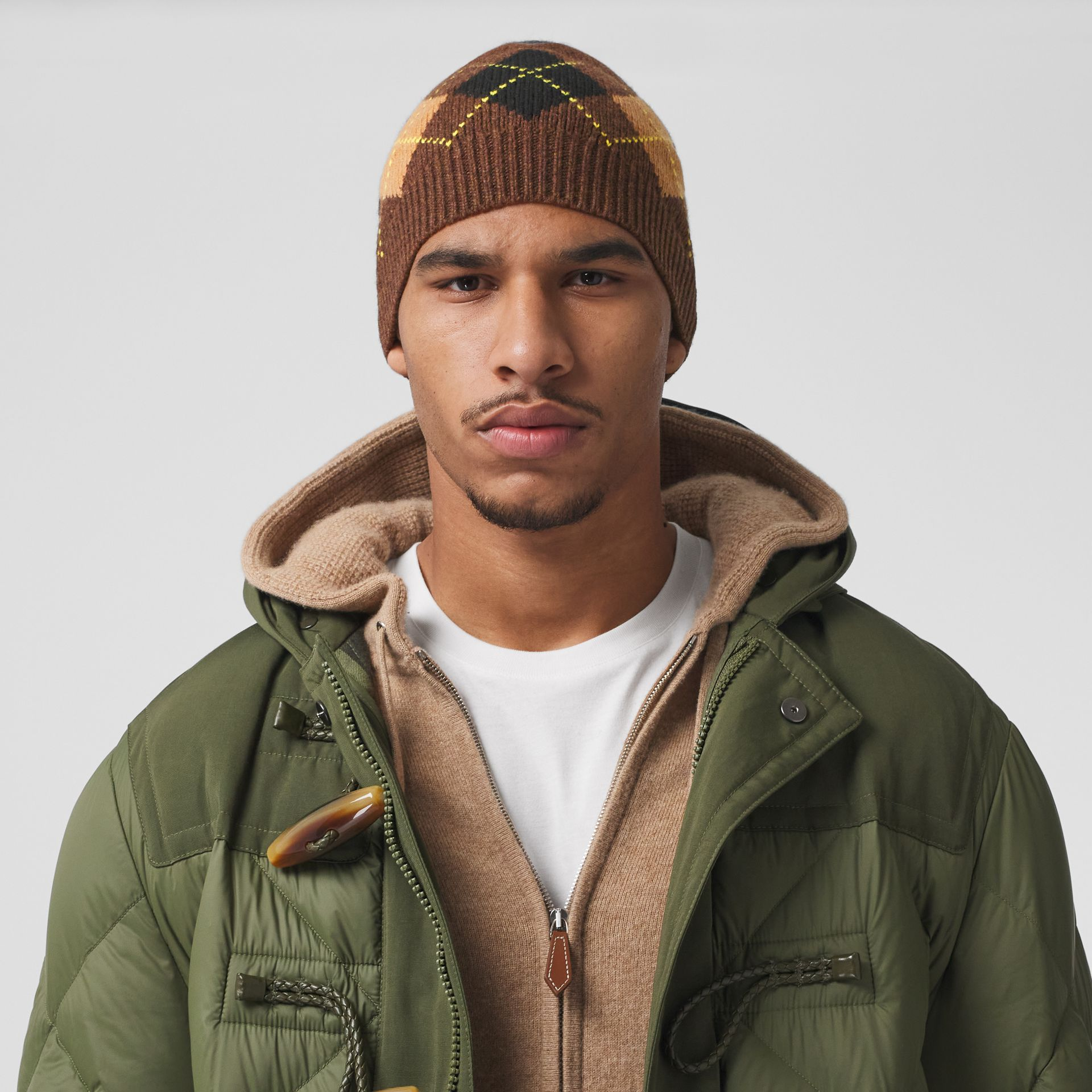 Argyle Intarsia Wool Cashmere Beanie in Brown | Burberry - gallery image 3