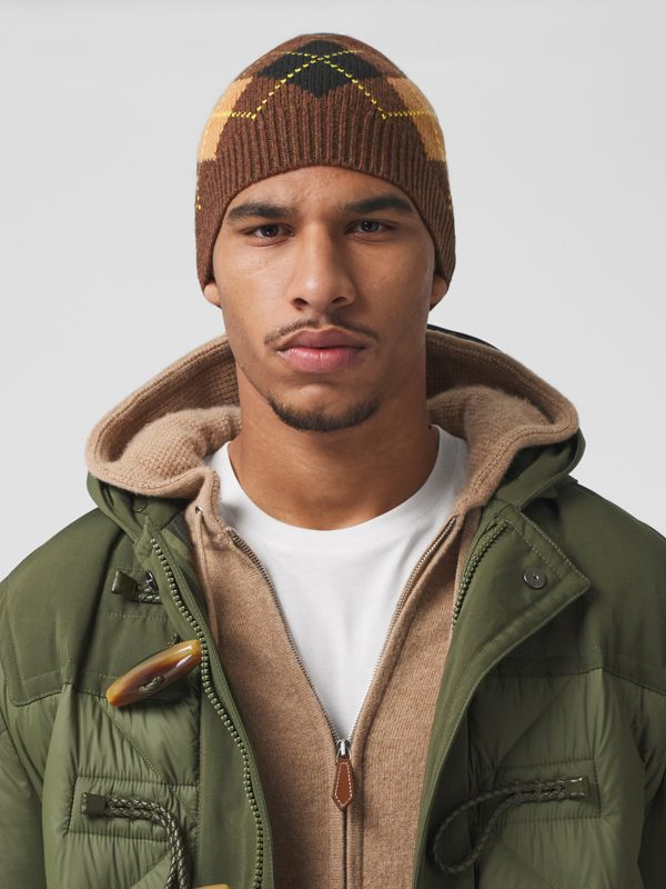 Argyle Intarsia Wool Cashmere Beanie in Brown | Burberry - cell image 3