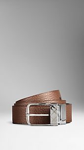 Reversible Grainy Leather Plaque  Belt