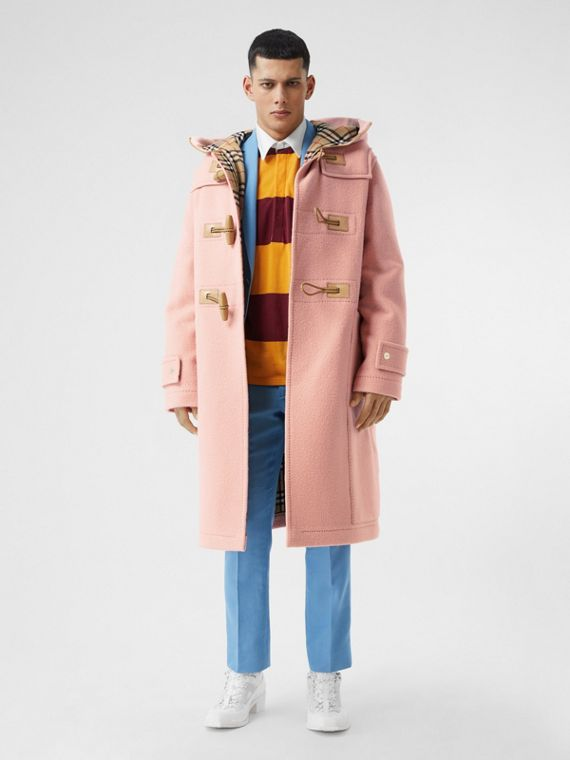 Vintage Check-lined Felted Wool Duffle Coat in Dusty Pink