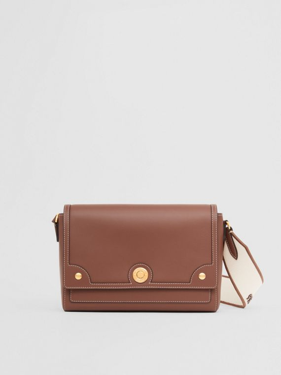 Topstitched Leather Note Crossbody Bag in Tan
