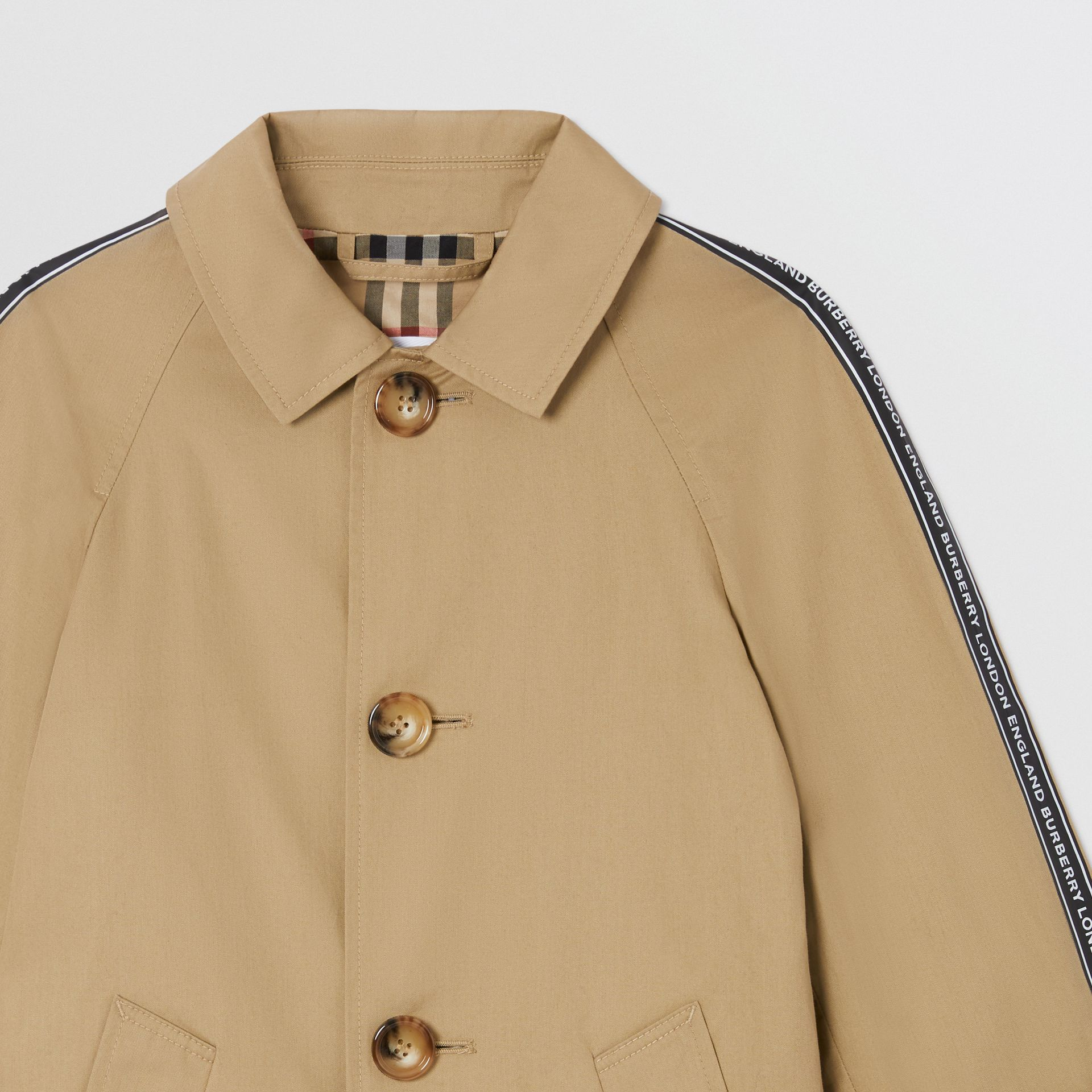 Logo Tape Cotton Car Coat in Honey   Burberry - gallery image 4